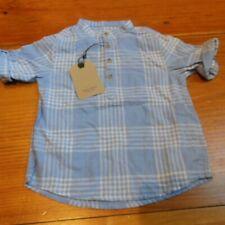 New! Zara Boys 4T Light Blue Check Roll Cuff Shirt Ss Top