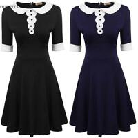 Women Vintage Style Peter Pan Collar Short Sleeve Patchwork Party A-Line H1PS