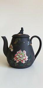 Antique Wedgwood Black Basalt Teapot Sybil finial Enamelled