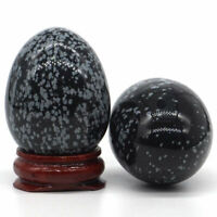34x44MM Natural Gemstone Snowflake Obsidian Healing Reiki Crystal Sphere Egg 1PC