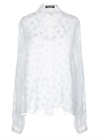 $995 NEW W TAGS DOLCE & GABBANA BLOUSE TOP SHIRT POLKA DOT SHEER WHITE IT42 US6