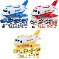 12pcs Car Toys Set with Transport Cargo Airplane and Large Play Mini Educational