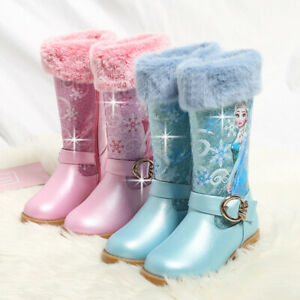 Kids Girls Snow Boots Princess Glitter Thick Warm Boots Party Shoes Winter Size