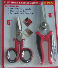 2 PC ELECTRICIAN AND CABLE SCISSORS POWER SNIP SHEARS CUTTERS  F.U.M. TOOLS FUM