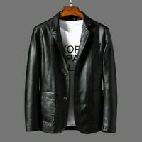 Fashion New Mens Faux Leather Blazer Jacket Coat Top Outwear Casual Black Brown
