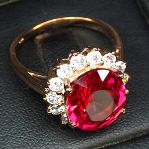 SAPPHIRE PINK PADPARADSCHA 6.20 CT. 925 STERLING SILVER ROSE GOLD RING SIZE 6.75