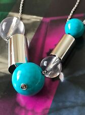 Michael Kors Color-Block Turquoise Statement Chain Necklace MKJ5564 Defect NWT