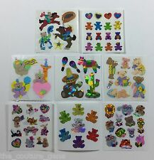Vtg Sandylion Teddy Bear Prismatic Glitter Pearl Animal Foil Mylar Sticker Lot