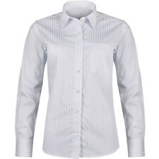 Ladies Stripe Shirt Womens Button Up Long Sleeve Tailored Fit White Blouse Top