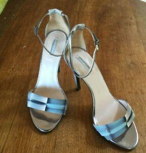 Giorgio Armani  Authentic Size 37 Silver/blue  Ankle Strap shoes