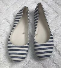 Blue And Cream Striped Canvas Flares Women's Size 10M EUC