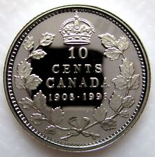 1998 CANADA 1908-1998 MIRROR FINISH STERLING SILVER 10 CENTS PROOF DIME COIN