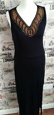 BLACK BEADED NECK MAXI SPLIT FRONT DRESS SIZE 14 UK SUMMER/HOLIDAY