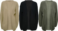 New Womens Knitted Open Cardigan Ladies Pocket Boyfriend Long Sleeve Top 8 - 14