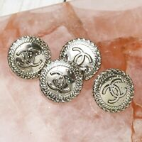 Chanel Buttons 4pc CC ✨💖  Silver Sparkle 19 mm Unstamped 4 Buttons AUTH!!