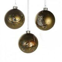 Weihnachten*Glaskugel*grün matt/weiß* mit Vogel*Eule*oder*Eichhörnchenmotiv*8cm*