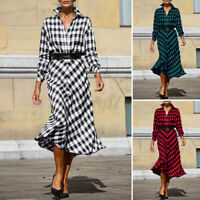 UK Womens Casual Loose Dress Evening Check Long Maxi Vintage Shirt Dress Plaid