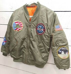 Vtg 1980s Child's L Green Top Gun Bomber Flight Jacket Costume Maverick Ice Man