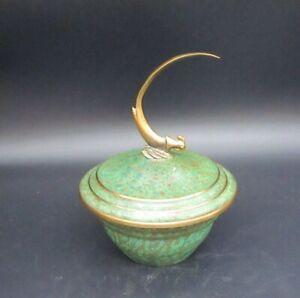 Vintage Carl Sorensen Art Deco Bronze Verdigris Patinated Bowl Bird Finial