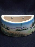 Small Hand Painted Landscape Scene Mountains Wall Pocket