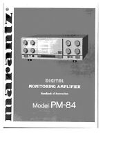 Marantz PM84 Amplifier Owners Manual