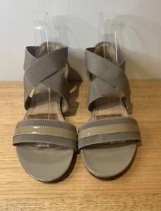 Hush Puppies Brown Sandals Patent - Elastic Ankle Strap - 'Gabi' Size 38