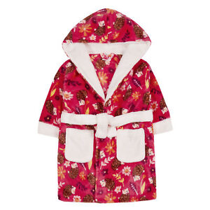 Girls Novelty Hedgehog Robe Kids Hooded Fleece Dressing Gown Bathrobe Gift Size