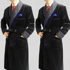 Men Long Smoking Jacket Black Velvet Quilted Robe Evening Dinner Party Overcoat