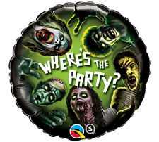 "HALLOWEEN PARTY SUPPLIES BALLOON 18"" ZOMBIE WHERE'S THE PARTY? FOIL BALLOON"
