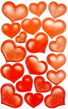 Sellos 34mm Redondo Impreso Pegatinas corazón rojo etiquetas de plástico Decorativo Corazones