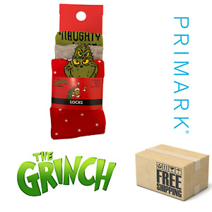 Ladies Primark Socks Official The Grinch Christmas Socks 3 Pairs Size 4-8 BNWT
