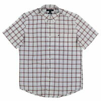 TOMMY HILFIGER Men's button front shirt S/Sleeve White/red/Black plaid sz L, XXL