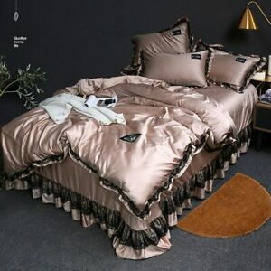 3pcs Lace Bedding Set Silk Duvet CoverBedroom Quilt Cover Bed Linens Sets 2021