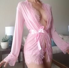 Pink Sexy Sheer Rob Cover Up With Thong Lingerie Sleepwear Stretch (1)
