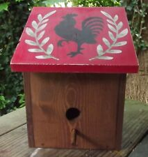 Handmade Solid Wood Birdhouse -Hand Painted Country Design - Primitive Rooster