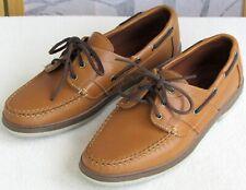 10 E Wide | Allen Edmonds Eastport Men Tan Leather Lace Up Casual Boat Deck Shoe