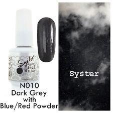 SYSTER 15ml Nail Art Soak Off Color UV Gel Polish N010 - D.Grey Blue/Red Powder