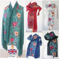 Ladies Women Soft Long Neck Large Embroidery Scarf Wrap Shawl Sarong Dress