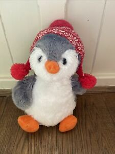 """WH Smith Penguin Grey Red White Snowflake Knitted Hat Soft Plush Toy Bird 11"""""""