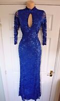 £65 Quiz Blue Lace Sleeves Fishtail Maxi Evening Party Dress 8 10 12 14