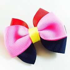 USA SELLER HANDMADE FABRIC Hair Clip  Pin child kid BOW Fashion Blue Pink Red