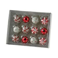Mini Red and White Polka Dot and Peppermint Glass Christmas Ornaments Set of 12
