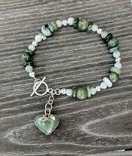 Burmese Jade & 925 Sterling Bracelet Natural Gemstones Heart Jewelry 8 in Long