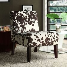 COWHIDE Brown White Peterson Cow Hide Fabric Slipper Accent Chair Western Decor