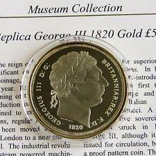 George III 1820 or cinq livres sterling Hallmarked Gold on Silver Proof-COA