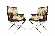 "Pair of Bernhardt Flair Wood & Chrome ""X"" Base Campaign Style Arm Chairs"