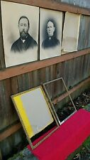 Late 19th Century Husband and Wife Portrait Pictures With Period Frames
