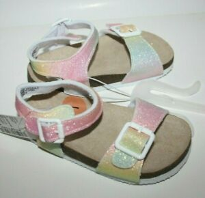 The Children's Place Rainbow Sparkle Glitter Girls Size 7 Sandals NEW NWT
