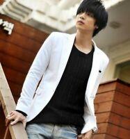Korean Fashion Men's Slim Fit Lapel OneButton Blazers Jacket Casual Coat Outwear