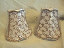 """Crystorama stitched gold bead scrolled white 5"""" mini clip on lamp shade set of 2"""